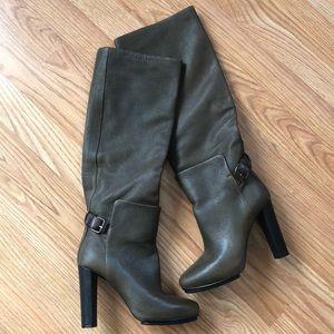 Balenciaga Olive Leather Knee High Boots Sz 36